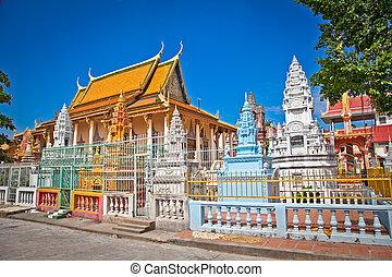 Richly ornamented Buddhist temple, Phnom Penh, Cambodia
