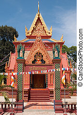 Richly ornamented temple building in Cambodia