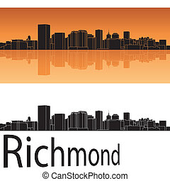Richmond skyline in orange background in editable vector...