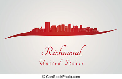 Richmond skyline in red and gray background in editable...