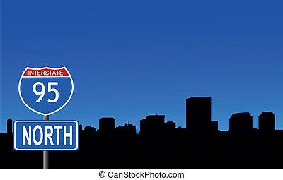 Richmond skyline interstate sign