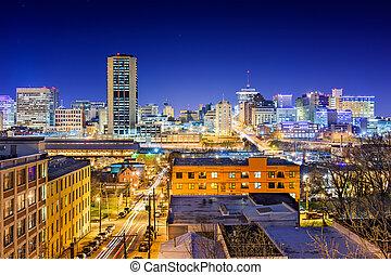 Richmond, Virginia, USA downtown skyline at night.