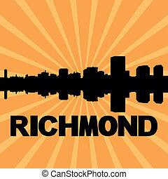 Richmond skyline sunburst - Richmond skyline reflected with...