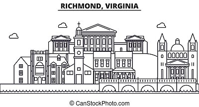 Richmond, Virginia architecture line skyline illustration. ...