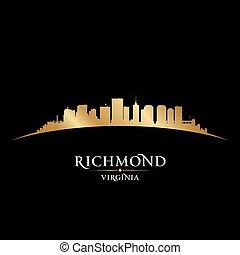 Richmond Virginia city silhouette black background -...
