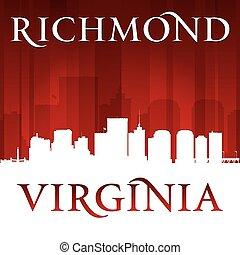 Richmond Virginia city silhouette red background - Richmond...