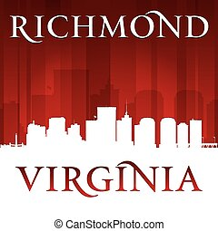 Richmond Virginia city silhouette red background