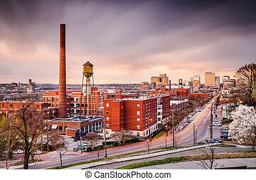 Richmond, Virginia, USA downtown skyline over Main Street.