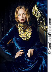 richness - Beautiful fashion model in a rich historical ...