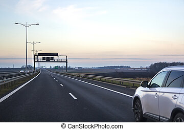 richting, auto, signs., straat, leeg, snelweg