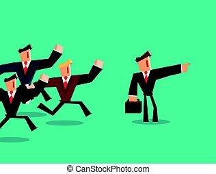 richting, concept., indiceert, team., zakenman, leider