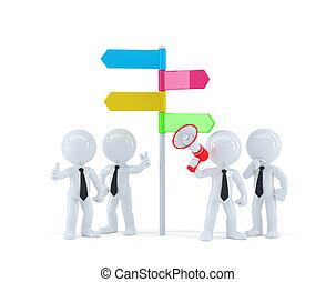 richting, concept, zakelijk, teken., team, voorkant