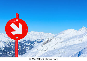 richting, gletsjer, meldingsbord, vakantiepark, hintertux, ski, rood