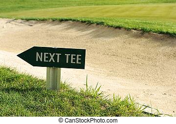 richting, golf tee, meldingsbord, akker, richtingwijzer, volgende
