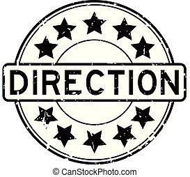 richting, grunge, postzegel, rubber, zwarte achtergrond, zeehondje, ster, witte , ronde, pictogram