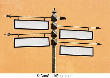 richting, leeg, metaal, tekens & borden, wijzer, straat