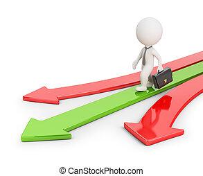 richting, mensen, succesvolle , -, kleine, 3d