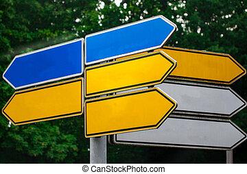 richting, pijl, tekens & borden, metaal, tegen, park., straat, leeg, wegwijzer