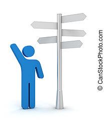 richting, raad, illustratie, 3d