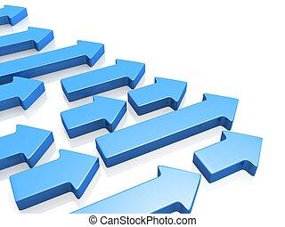 richting recht, benadrukkend, concept, groei, richtingwijzer