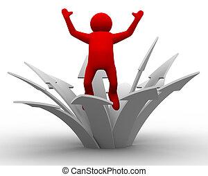 richting, success., beeld, vrijstaand, beweging, 3d