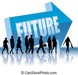 richting, toekomst, -
