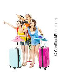 richting, verheffen, punt, gelukkig, backpackers, jonge, handen