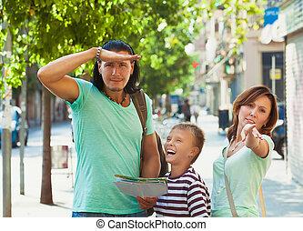 richting, vrouw, gezin, wijzende