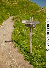 richting, wandelende, meldingsbord