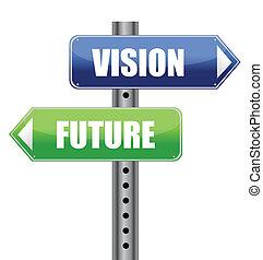 richting, wegaanduiding, met, visie