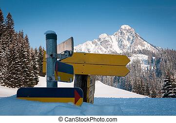 richting, winter, sneeuw, diep, tekens & borden, landscape