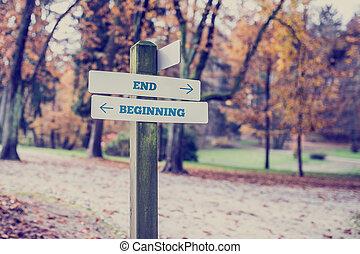 richtingen, begin, naar, einde, tegenoverstaand