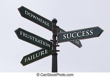 richtingen, wegaanduiding, voor, succes, mislukking,...