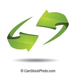 richtingwijzer, 3d, pictogram, vector, illustratie