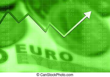 richtingwijzer, grafiek, het uitgaan, en, euro munt