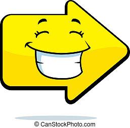 richtingwijzer, het glimlachen