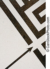 richtingwijzer, labyrint, black