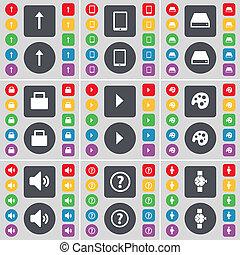 richtingwijzer, op, tablet pc, hardeschijf, slot, media, toneelstuk, palet, geluid, vraagteken, polshorloge, pictogram, symbool., een, groot, set, van, plat, gekleurde, knopen, voor, jouw, design.