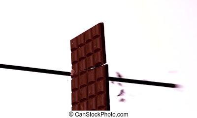 richtingwijzer, schietende , door, een, chocoladekleurig...