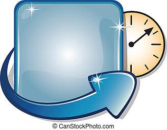 richtingwijzer, spandoek, &, klok, tijdopnemer