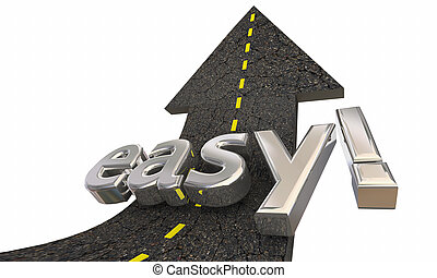 richtingwijzer, succes, eenvoudig, op, illustratie, vasten, gemakkelijk, straat, 3d