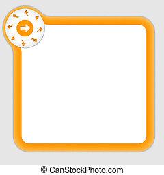 richtingwijzer, tekst, frame, het binnengaan, sinaasappel, enig
