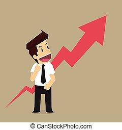 richtingwijzer, trots, op, zakenmens
