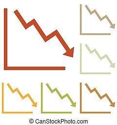 richtingwijzer, wijzende, benedenwaarts, het tonen, crisis