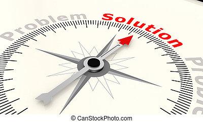 richtingwijzer, woord, oplossing, wijzende, kompas
