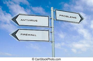 richtung, brandmauer, zeichen, antivirus, wörter, problem,...