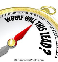 richtung, führen, dieser, frage, wille, kompaß, neu , wohin