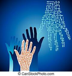 richtung, form, pfeil, hand