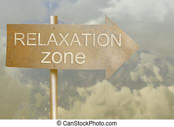 richtung, gemacht, zone, text, metall zeichen, entspannung,...