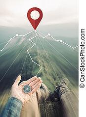 richtung, pin., spur, suchen, ort, kompaß, reisender, mann,...